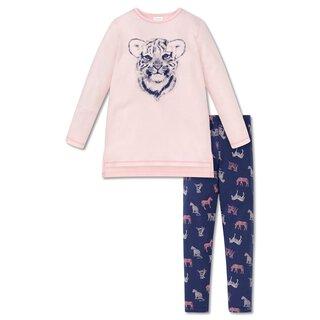 ad29c811bbcf8a Schiesser Mädchen - Wild One Tiger Schlafanzug mit Leggins Lang rosa