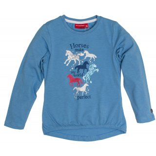 SALT AND PEPPER Mädchen - Pferde Langarmshirt Horses My World Blue Melange